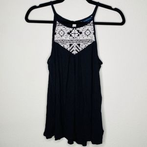 American Eagle Black Embroidered Tank Top